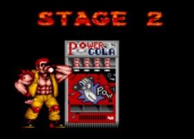 """lutador tomando bebida ao lado de máquina automática de """"Power Cola"""""""