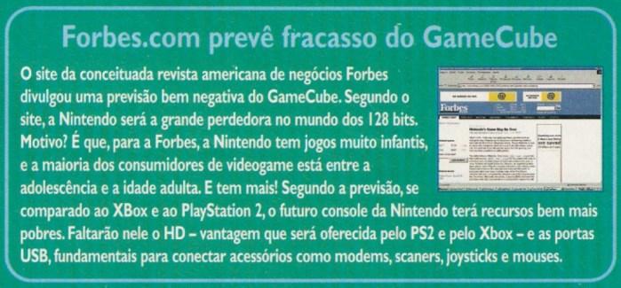 Previsão sobre o GameCube no site da Forbes