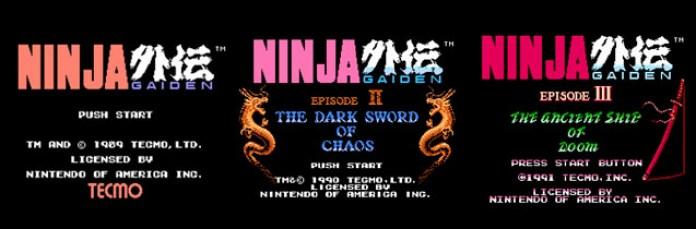 Aberturas da trilogia de Ryu Hayabusa no Nintendinho.