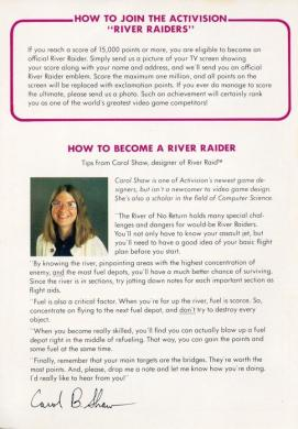 Carol Shaw River Raid notes