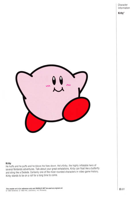 Nintendo Official Character Manual Kirby Perfil