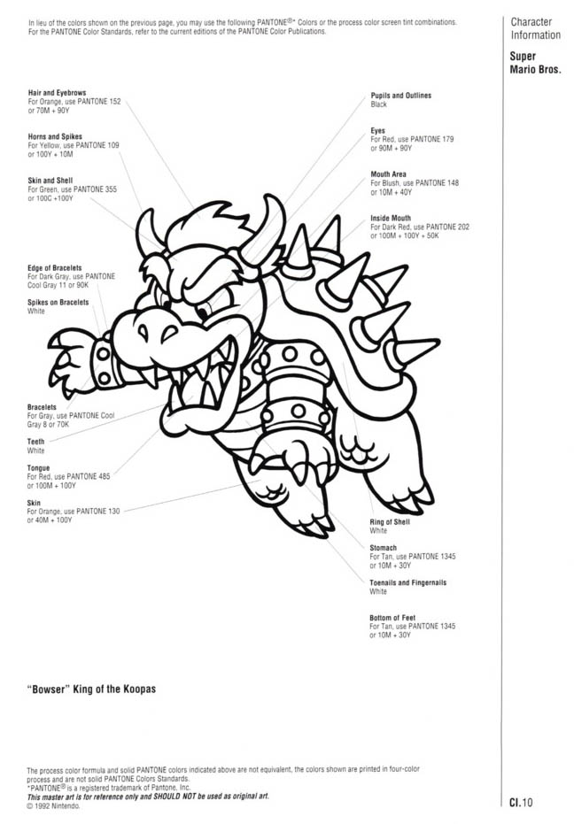 Nintendo Official Character Manual Koopa Pantone