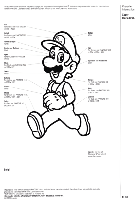 Nintendo Official Character Manual Luigi Pantone