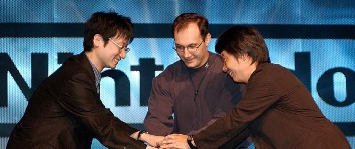 Kojima e Miyamoto na E3 2003 trabalharam juntos em Twin Snakes, para o GameCube.