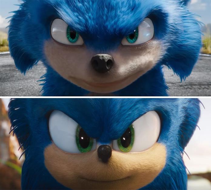 comparação Sonic antes e depois trailer