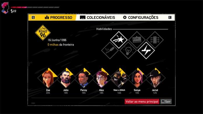 road 96 habilidades menu