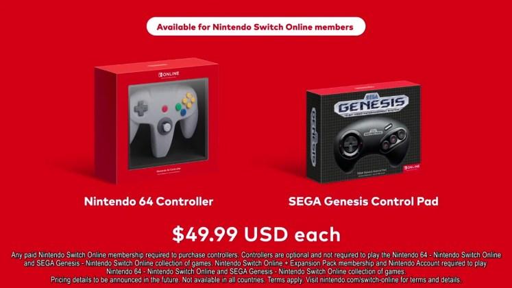 preços controles N64 e Genesis para Switch