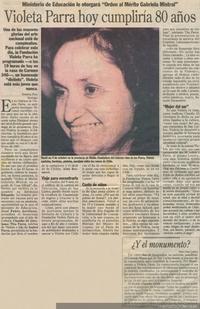 Violeta Parra hoy cumpliría 80 años