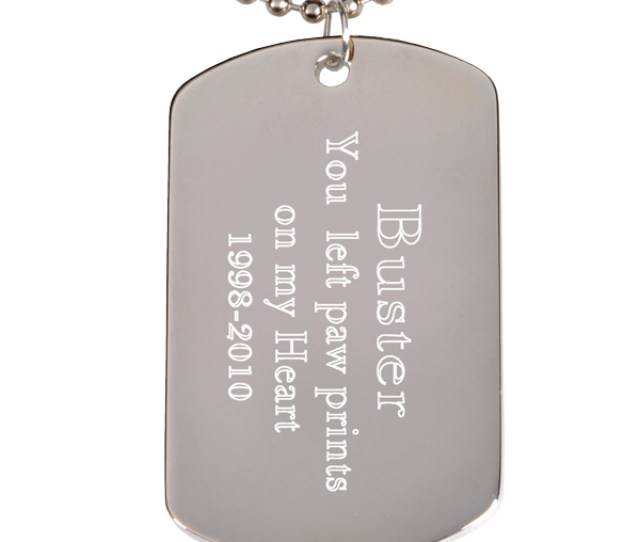 Engraved Rhodium Plated Dog Tag Pendant With Chain Block Font