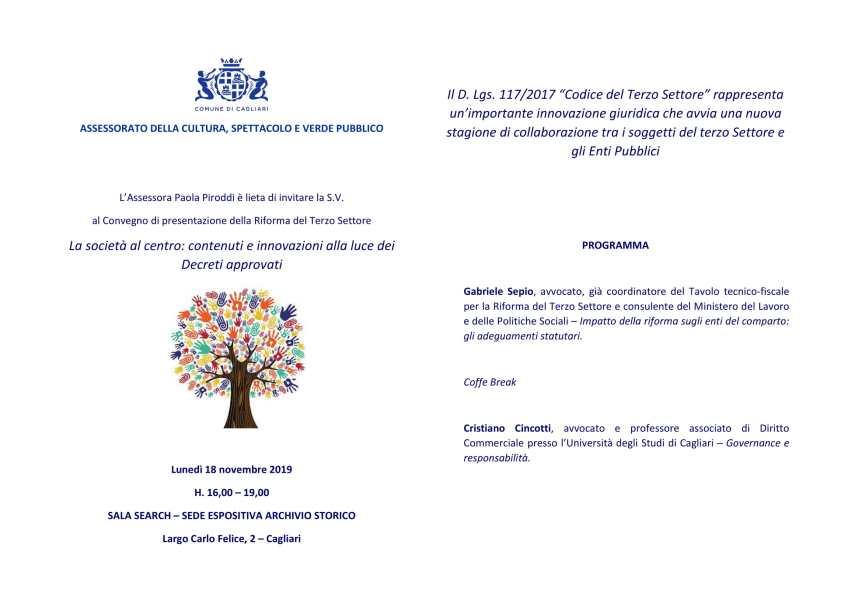 Programma del convegno di presentazione della riforma del terzo settore