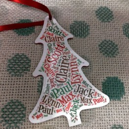 wooden Christmas Tree - Personalised Names Wooden Christmas Tree