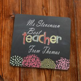 BT120 Best Teacher Coaster 90mm - Personalised Best Teacher Coaster Gift