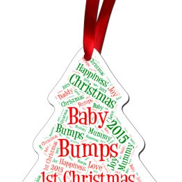 Bumps 1st Christmas Aluminuim Word Cloud TREE - Family Xmas Baby Bump 1st Christmas Tree