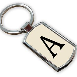 A Metal Rectangle Keyring - Letter Alphabet Keyring