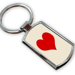 Heart Metal Rectangle Keyring - Letter Alphabet Keyring