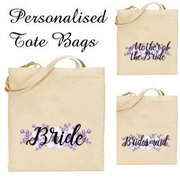 Tote Bags Wedding - Personalised Bridal Favour Keepsake Gift Canvas Tote Bag