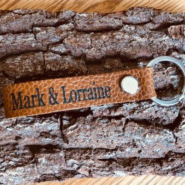 IMG 0601 - Personalised Tan Grain Genuine Leather keyring