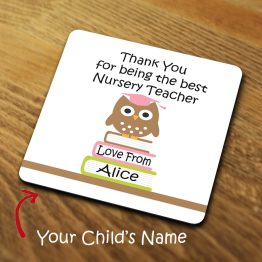 TC119 Best Nursery Teacher Word Cloud Coaster - Personalised Owl Thank you for being my Nursery Teacher Coaster