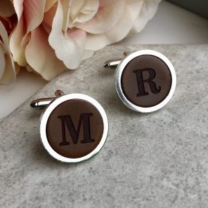 Personalised Initials Cufflinks Cordovan Leather 3rd Anniversary Wedding Gift