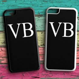 Initials SIDE WAYS INB109 iPhone 7 Black White Case - Personalised Initial Name Wedding Phone Case