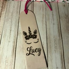 IMG 1096 e1536567648223 - Personalised Genuine Cream Leather Unicorn Bookmark