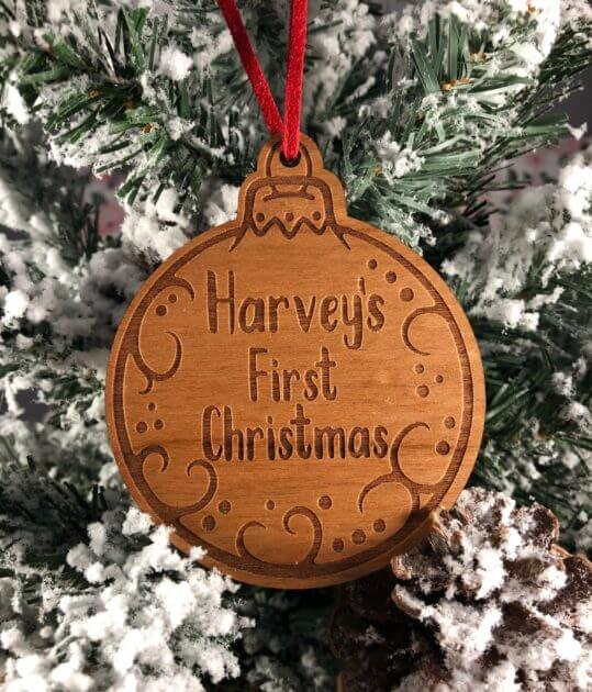 Personalised First Christmas Wooden Decoration Personalised Gifts