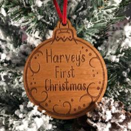 IMG 1122 e1536609333655 - Personalised First Christmas Wooden Decoration