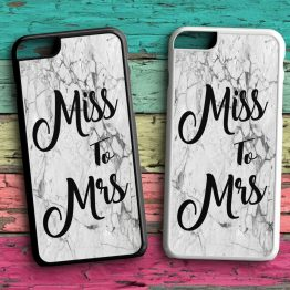 Miss To Mrs Marble iPhone 7 Black White Case - Miss To Mrs Phone Case