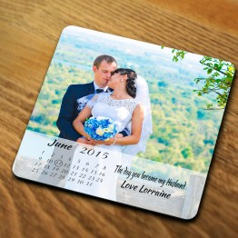 Wedding 2 Image Calendar Husband Coaster - Personalised Wedding Calendar - Photo Coaster Gift