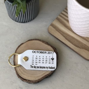 Our beautiful genuine leather key ring can be personalised with that special date, a birthday or the day you became a husband or wife or even a mummy or daddy?