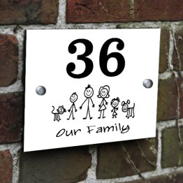 Family House Signs Plaque ChromaLuxe Aluminium White 200x150mm - Family Acrylic - Aluminium House Sign Modern Door Plaque