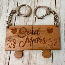 Soul Mates puzzle keychain  - Soul Mates Wooden Puzzle keyring