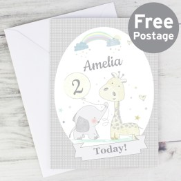 GC00542 Personalised Hessian Giraffe Elephant Card - Personalised Hessian Giraffe & Elephant Card