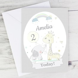 GC00542 6 Personalised Hessian Giraffe Elephant Card - Homeware