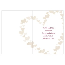GC00624 4 - Personalised Mr & Mrs Confetti Hearts Wedding Card