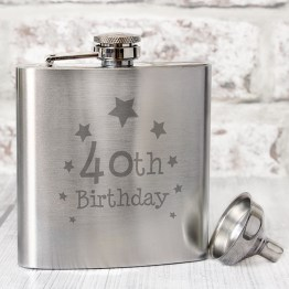NP0102E39 - 40th Birthday Hip Flask