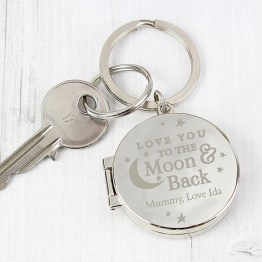 P0102T30 Personalised To the Moon and Back...Photo Keyring - Recipient