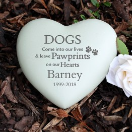 P011319 - Personalised Dog Pawprints Heart Memorial