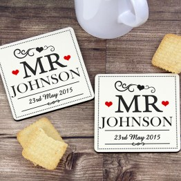 P081115 - Personalised Mr & Mr Coaster Set