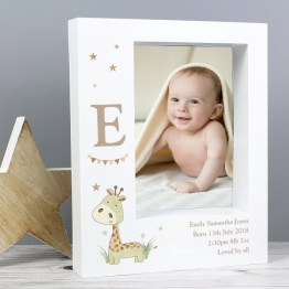 P100477 Personalised Hessian Giraffe 5x7 Box Photo Frame - Personalised Hessian Giraffe 5x7 Box Photo Frame