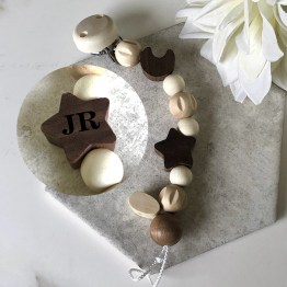 733700 Star Initials - HEIMESS Personalised Initials Soother Dummy Chain Star, Nature Wood 21 cm
