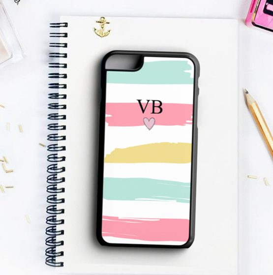 Cute Pastel Initials Small Heart INH102 Iphone 7 black - Personalised Initials Strips Phone Case