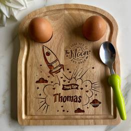 Space Ship I Love you to the moon and Back Dippy Eggs Apollo Egg Toast Board website Copy - Personalised Name Space Ship I Love you to the Moon and Back Egg Breakfast Board