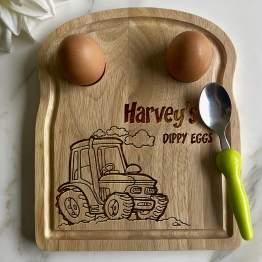 Tractor Dippy Eggs Apollo Egg Toast Board website - Personalised Name Tractor - Eggs Breakfast Board