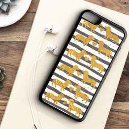 Website SDG201 Sausage Dog GOLD Iphone 7 black - Dachshund Sausage Dog Beautiful Gold Effect Foil Phone Case