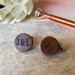 IMG 2023 - Personalised Genuine Brown Leather Cufflinks