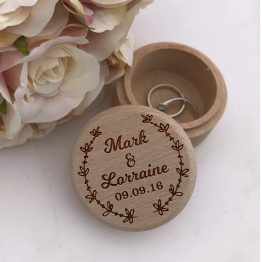 Design 3 Names Date Ring Box - Personalised Floral Names & Date Wooden Wedding Ring Box