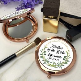 Greenery mother of the bride Name Date Round Rose Gold Compact Mirror - Personalised Mother of the bride Rose Gold Compact Mirror