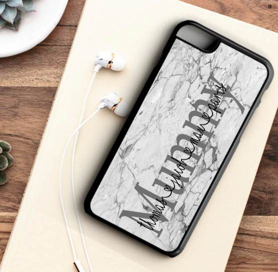 Mummy Names Marble Iphone 7 black - Personalised Mummy Family Names phone case for Iphone