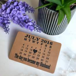 Personalised Calendar Leather Wallet Card - Personalised Calendar Leather Wallet Card